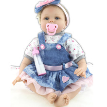 "22"" Baby-reborn girl doll handmade doll soft silicone vinyl fashion Denim skirt lifelike boneca reborn baby toys for kids"