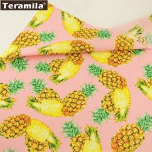 Teramila Cotton Poplin Fabric Light Pink Fat Quarter Meter Cloth Printed Pineapple Design Patchwork Sewing Quilting Tissue(China)