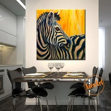 Modern Zebra Wall Pictite 100% Handpainted Oil Painting on Canvas Animal Zebra Canvas Art Painting for Living Room Home Decor