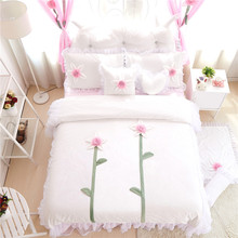 3/4pcs white/pink/blue/purple Princess lace applique embroidery sunflower bedding set twin full queen king size free shipping(China)