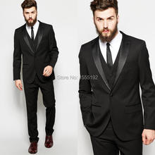 2017 Black Custom Made Groom Tuxedos Business Suits Classic Black Cheap White Blazer Men Prom Mens Tux Bridegroom(China)
