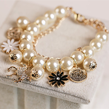 Sl083 Korean Girl Fashion Multilayer Alloy Simulated Pearl Beaded Bracelet Horse Flower Charm Bangle Bracelet For Women Jewelry(China)