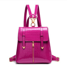 2016 Crocodile-Grained Cute Patent Leather Back Bag Women School Backpacks Bags for Teenagers Girls,Black/Blue Backpack