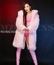 Hot 2017 new bar singer Women DJ Hong Kong long hair pink fake fox fur, Fashion sexy bra and shorts costumes Trench coat