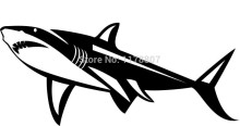 White Shark Sticker For Car Rear Windshield Truck SUV Bumper Auto Door Laptop Art Wall Die Cut Vinyl Decal 8 Colors(China)