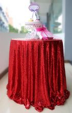 High Quality Sparkly Embrodiery Mesh Lace Sequin Fabric Tablecloth 120inch Round Sequin Table Cloth Red for Wedding Decoration(China)