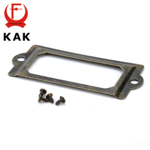 KAK 69*32mm Handle Antique Brass Metal Label Pull Frame File Name Card Holder For Furniture Cabinet Drawer Box Case Hardware