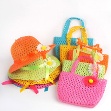Girls Kids Beach Hats Bags Flower Straw Hat Cap Tote Handbag Bag Suit Children Summer Sun Hat 54CM For 3-7 years Free Shipping