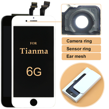 TOP quality for tianma 10 pcs LCD Display For iPhone 6 lcd4.7 inch Touch Screen Digitizer Assembly +camera ring free DHL(China)