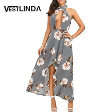 VESTLINDA Sexy Dress Club Wear Halter Neck Hollow Out Backless Floral Pattern High-low Hem Women Dresses Party Maxi Long Vestido