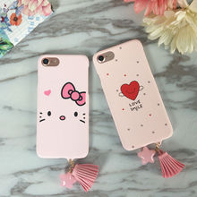 Pink Love heart mobile hard PC phone case cover For iPhone 6,6S,6plus,6Splus,7,7plus luxury protective phone bag Anti-knock(China)