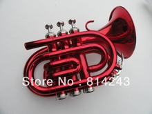 Bb Pocket Trumpet The Temple Of King Wen With Surface Big Red Big Horn Professional Bb Pocket Trumpet With Case(China)