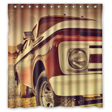 Retro Old Car Customize Unique Design Curtains Bathroom Bath Waterproof Shower Curtain Size 48x72,60x72,66x72 inches(China)