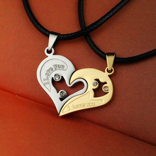 2 Pieces/Set Couple Broken Heart choker Necklaces I Love U Stainless Pendants Double Heart Lovers Crystal Necklaces for Men(China)