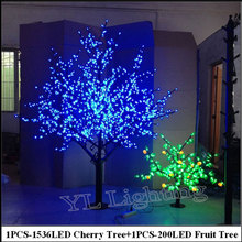 2Meter LED Cherry Tree +0.8Meter 200LED Fruit tree indoor christmas holiday decorative blossom tree lights Europe(China)