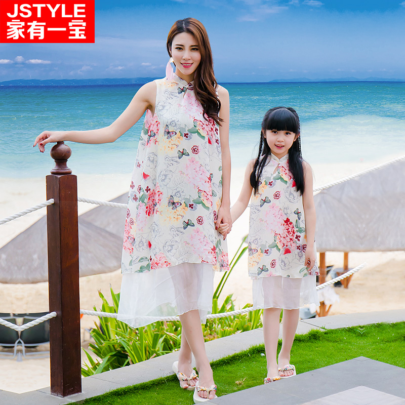 Matching Mother Daughter Dresses Sleeveless Family Girls Loose Dress For Party Holiday Family Clothes Chiffon Vestido MaeE Filha<br>