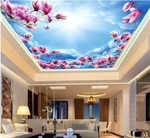 3d ceiling murals wallpaper custom photo Blue sky white clouds red magnolia decoration painting 3d wall mural wallpaper
