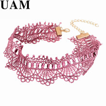 UAM Crochet  Black Pink Lace Choker Necklace Personality Women Collar Jewelry Vintage Collares Necklace for Party Gift