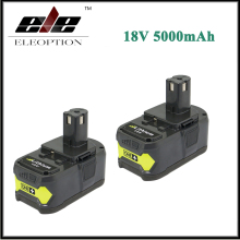 2x Eleoption 18V 5000mAh Li-Ion Rechargeable Battery For Ryobi P108 RB18L40 P2000 P310 For Ryobi ONE+ BIW180