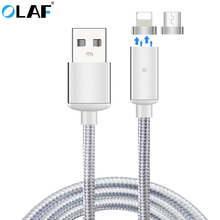 OLAF 2.4A Magnet Fast Charger Micro USB Cable Magnetic Adapter Charging Data USB Cable For iPhone Xiaomi Samsung Huawei Android