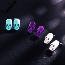 Tassina 2017 New Multicolor Selection Personality Men Punk Rock Skeleton Skull Stud Earrings Fashion Women Jewelry YT-E1793