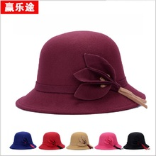 Fashionable English fashionable girl hats Imitation wool top hat new autumn and winter pearl ornament hat style bow tie cap(China)