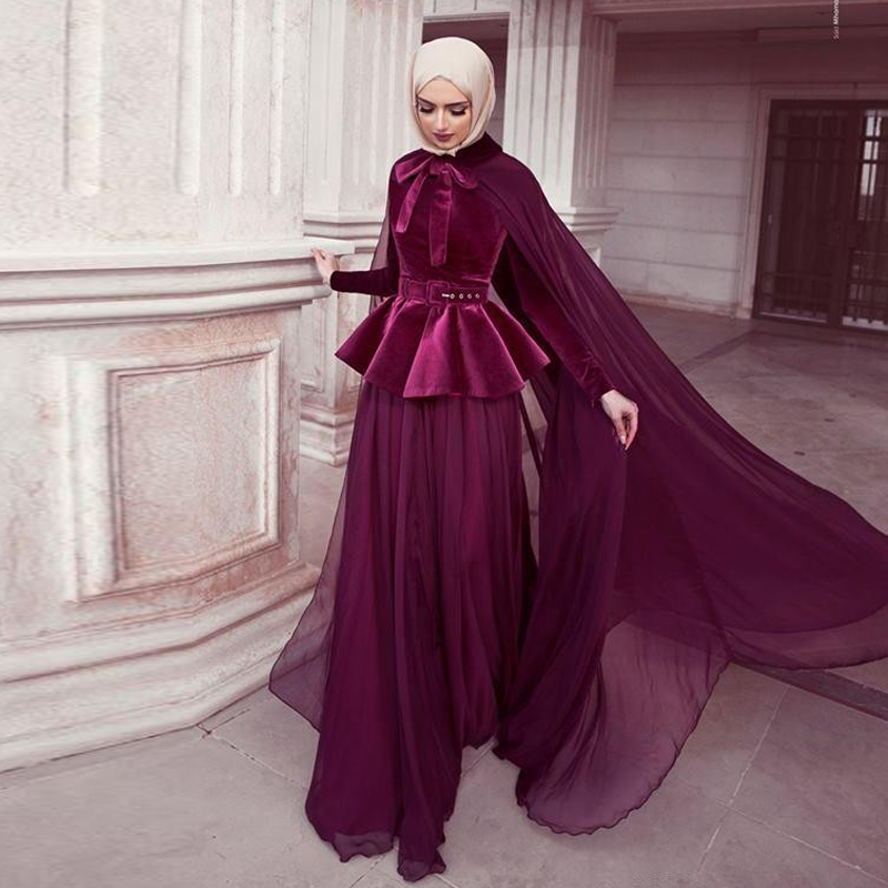 Cheap A Line Muslim Evening Dresses with Cape High Neck Long Sleeve with Belt Formal Gown Chiffon Skirt Abric Dubai Prom Dress