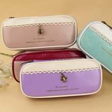1PC Fashion Style Girl PU Leather School Pencil Case for Two Color Stitching Pen Bag Stationery Pouch School Office Supply