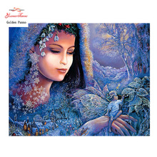 Golden panno,Full,DIY Diamond Embroidery,5D,Diamond Painting,Cross Stitch,3D,Diamond,Mosaic,Needlework,wall decor,The Smurfs(China)
