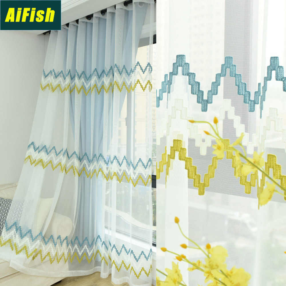 Modern Embroidered Blue Horizontal Striped Wavy Sheer Voile Curtains for Living Room White Window Curtain Tulle Draperies TM0063