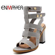 ENMAYER Open Toe Summer Woman Platform Sandals Gladiator Hook Slingback Plus Size 34-43 Cross-tied Cuts-outs High Heels Sandals(China)