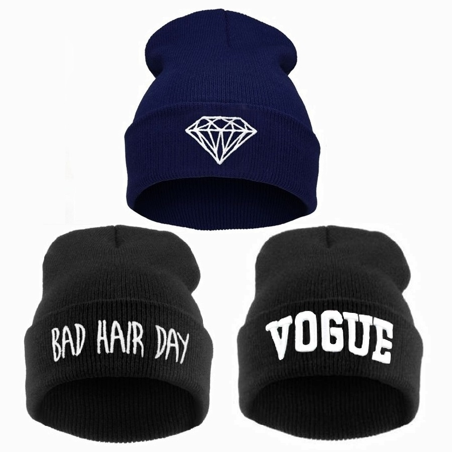 Winter beanie hats for men women VOGUE Diamond bad hair day knitted Cap ,femme skullies,gorros de lana hombre mujer invierno(China (Mainland))