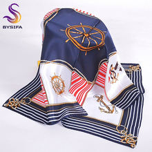 Autumn Striped Plaid Small Square Scarves Printed 2016 New Brand Ladies Accessories 100% Pure Silk Scarf 53*53CM Navy Blue Scarf(China)