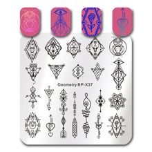 BORN PRETTY Nail Art Stamping Plate French Tips Floral Desserts Circus Sketches Square Image Stencil Template Nail Art Plate(China)