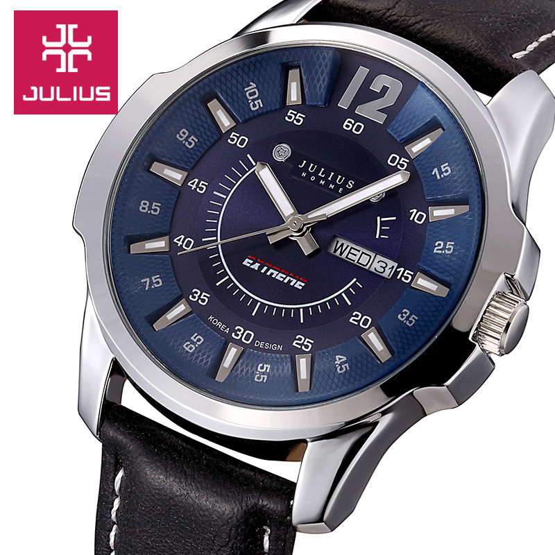 Top Brand Julius Mens Watches Luxury Famous sports Quartz watch Men Leather strap Date Day Display Wristwatch relogio masculino<br>