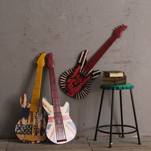 Retro guitar Shaped Wood wall art WALL Painting Gifts For Cafe vintage Bar decor DIY Handmade guitar Ornament