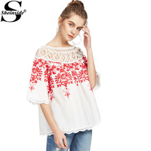 Sheinside Cute Crochet Blouse Women White Boho Embroidery Red Vine Vintage Summer Tops 2017 New Sexy Off Shoulder Cut Out Blouse