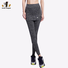[AP] Newest Womens Sport Legging GYM Fake Two Pieces Compression Yoga Pants Tennis Skorts Quick Dry Leggings Fitness Trousers(China)