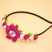 Rhinestone Flowers Hairband Leaves Headbands Decorative Wreaths Hair Band for Women Boutique Head Band Girl Hair Accessories(China)