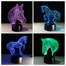 2017 USB Novelty Gifts 7 Colors Changing Animal Horse Led Night Lights 3D LED Desk Table Lamp as Home Decoration Cheap Wholesale(China)