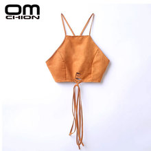 OMCHION 2017 New Women Sexy Halter Suede Crop Top Back Lace Up Backless Zipper Camis Unlined Bra Vintage Brown Tops BD01