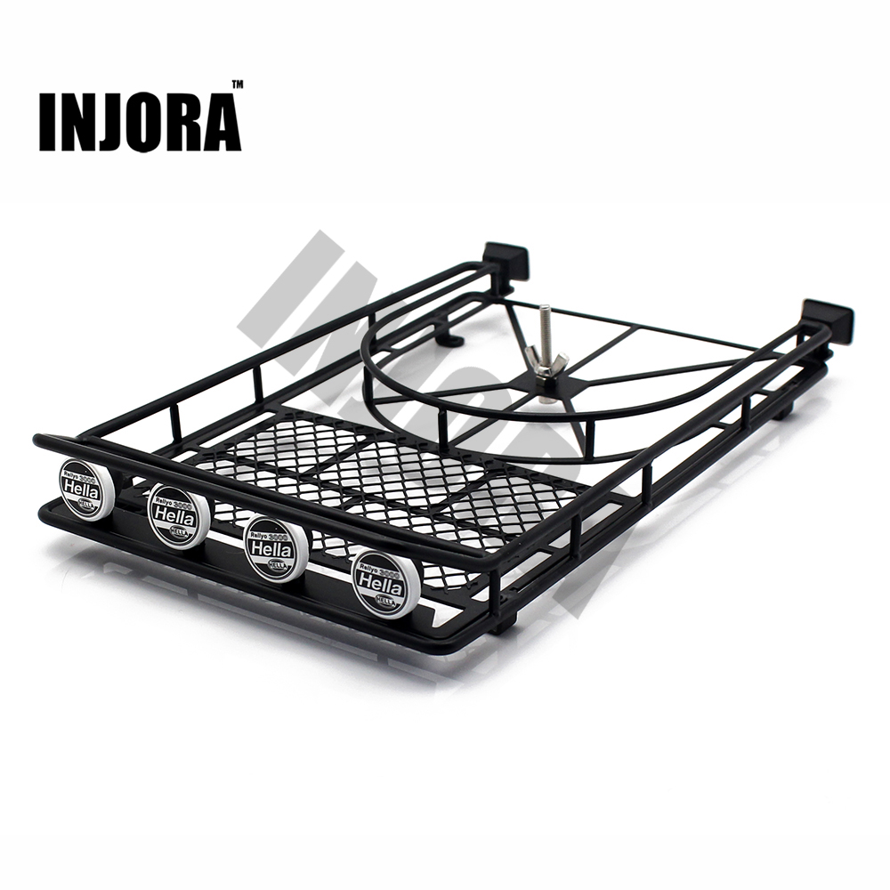 Black/Silver/Red Metal Roof Rack with 4LED Lights for 1:10 RC Rock Crawler SCX10 II 90046 90047 Cherokee SCX10 D90<br>