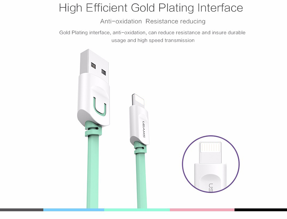 For IPhone Cable IOS 11 10 9 USAMS 2.1A Fast Charging 0.25m 1m 1.5m Flat Usb Charger Cable For iPhone 8 7 i6 iPhone 6 6s X Cable 10