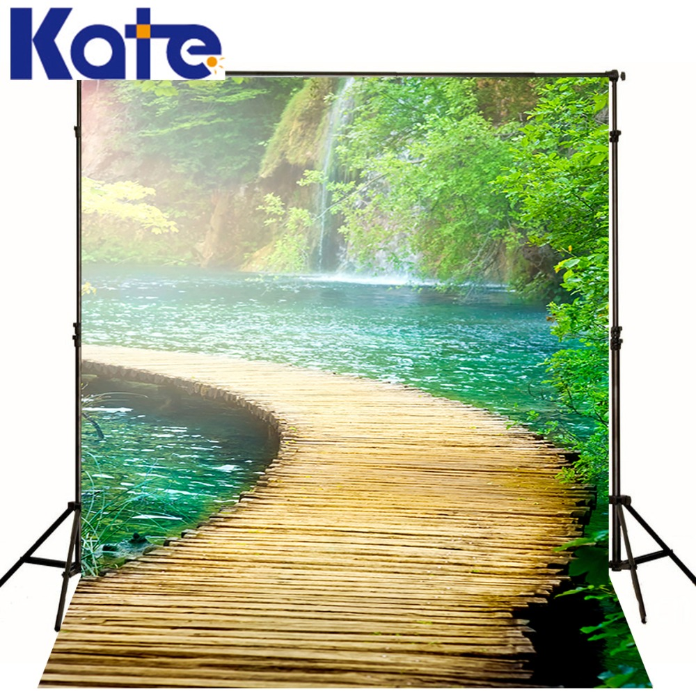 Kate Digital Printing  Photography Wood Floor Backdrops Retro River Trail  Photography  Photo Bckdrop For Wedding<br>
