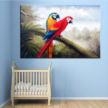 Wall Art, Wall Decor, Wall Painting Red scarlet macaw Digital oil Painting Print, Nice Painting for wall picture no frame(China)