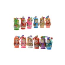 60PCS Hand Painted Wooden Toys Russian Doll Matryoshka Charm Pendant Mobile Phone Nesting Dolls Key Chain Girl Doll Kids Gift