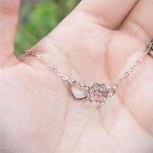 Fashion Cute Lovely  HEART Dog Cat paw Print Chain Necklace Pendant Infinity Love friendship Mother Child daughter Jewelry Gift