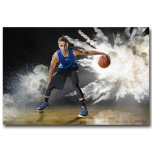 NICOLESHENTING Stephen Curry Poster Art Silk Fabric Poster Print 13x20 24x36inch Basketball Star Pictures Home Wall Decor 020