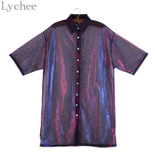 Lychee Summer Women Blouse Transparent Mesh Laser Sunproof Sunscreen Half Sleeve Shirt Tops(China)