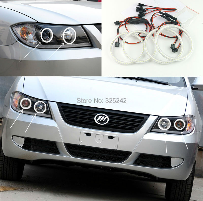 For Lifan 620 Solano 2008 2009 2010 2011 2012 Excellent led angel eyes Ultrabright illumination smd led Angel Eyes Halo Ring kit<br><br>Aliexpress